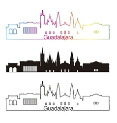 Guadalajara skyline linear style with rainbow in vector