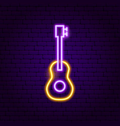 guitar neon sign vector image