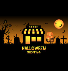 halloween store shop in a graveyard vector image