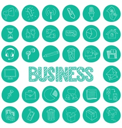 hand drawn icons set business vector image