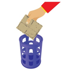 Hand throwing trash in the waste basket vector