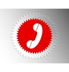 Handset icon in paper banner index vector