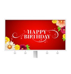 happy birthday floral lettering design on vector image