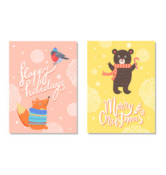 happy holidays greeting cards squirrel bear bird vector image