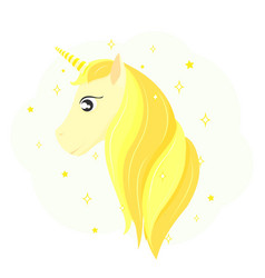 Head of a golden unicorn gold horse hair vector