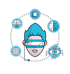 Human cyberspace connect with 3d glasses vector