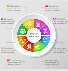 Infographic design template with startup icons vector