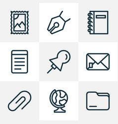 instrument icons line style set with folder globe vector image