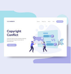 Landing page template copyright conflict vector