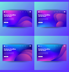 Landing page template with gradient modern webpage vector