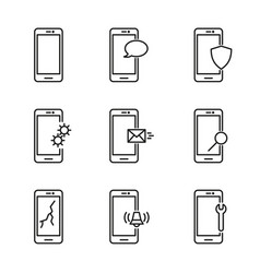 Line mobile phone icons vector