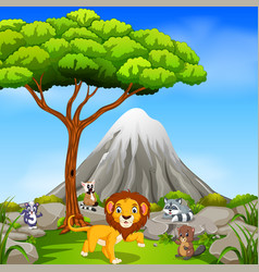 Lion in the jungle with mountain scene vector