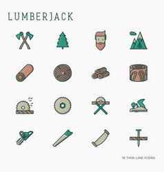 Logging and lumberjack with beard vector