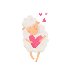 lovely fluffy sheep holding pink heart cartoon vector image