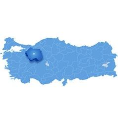 Map of Turkey Eskisehir vector