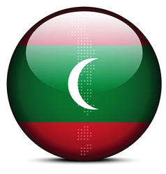 Map with Dot Pattern on flag button of Maldives vector image
