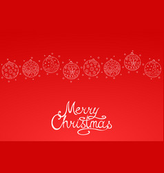 merry christmas red background with hand drawn vector image