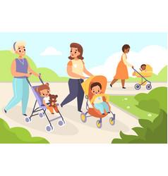 Mom baby walking happy women with kids vector