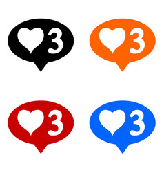 new three like icons set vector image
