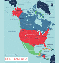 north america state detailed editable map vector image