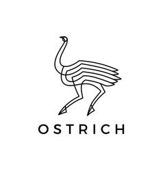 ostrich monoline logo icon vector image