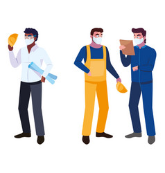 People architec and operator with mask vector