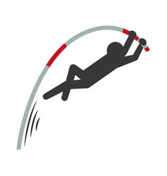 Pictogram man practice pole vault sport vector