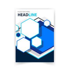 poster blue hexagon template design image vector image