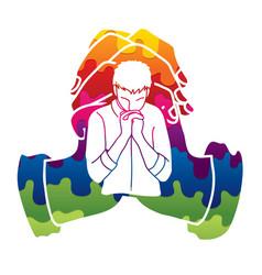 Prayer christian praying praise god worship vector