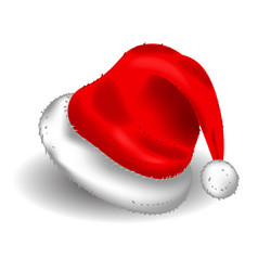 Realistic christmas santa claus red hat vector