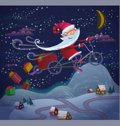 santa claus flying by magic bicycle vector image