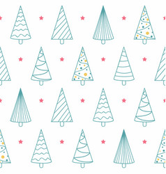 seamless pattern with christmas trees and stars vector image