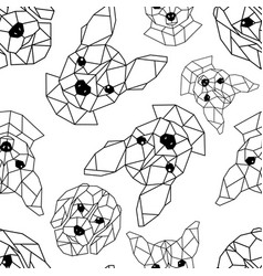 Seamless pattern with geometric muzzles of dogs vector