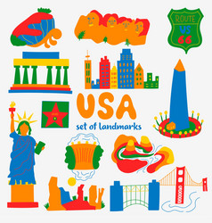 Set attractions popular places usa vector