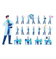 set man doctor presentation in various in vector image