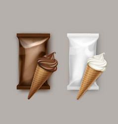 Set of white chocolate ice cream waffle cone vector