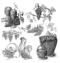 set of wine bottle and wineglasses basket vector image