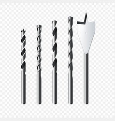 set realistic steel drill bits isolated on vector image