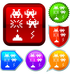 Set shiny icon series on buttons computer game vector