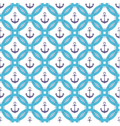 ship anchor in the circle marine seamless pattern vector image