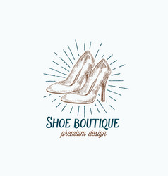 Shoe boutique retro sign symbol or logo vector