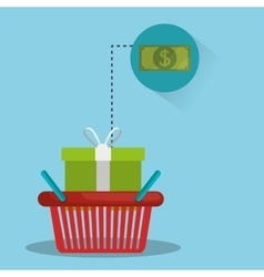 shopping basket with money bill vector image