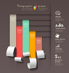 Show colorful paper roll infographics graph vector image