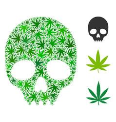 Skull mosaic of marijuana vector