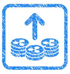 Spend ripple coins framed stamp vector