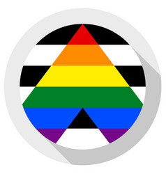Straight ally flag round shape icon on white vector