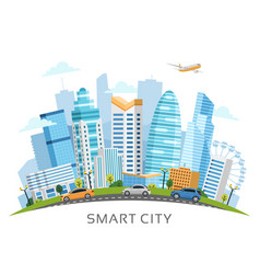 Urban smart city arch landscape with skyscrapers vector