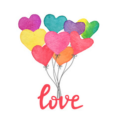 watercolor hand drawn heart balloons with hand vector image