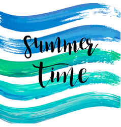 watercolor summer time hand lettering blue vector image