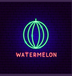 watermelon neon label vector image